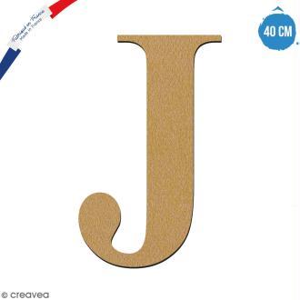 Lettre J en bois à décorer - 40 cm - Collection Alphabet serif