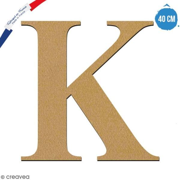 Lettre K en bois à décorer - 40 cm - Collection Alphabet serif - Photo n°1