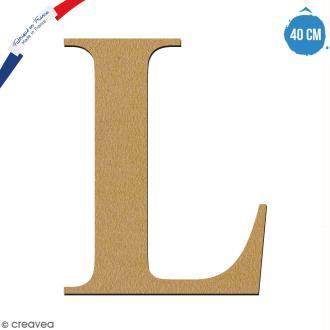 Lettre L en bois à décorer - 40 cm - Collection Alphabet serif