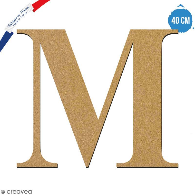 Lettre M en bois à décorer - 40 cm - Collection Alphabet serif - Photo n°1
