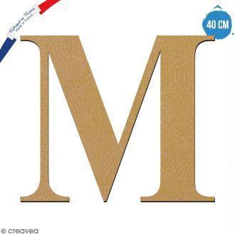 Lettre M en bois à décorer - 40 cm - Collection Alphabet serif