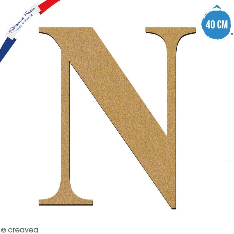 Lettre N en bois à décorer - 40 cm - Collection Alphabet serif - Photo n°1
