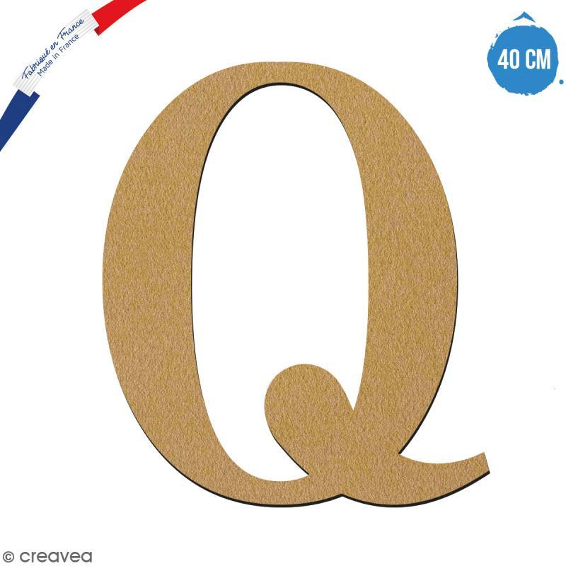 Lettre Q en bois à décorer - 40 cm - Collection Alphabet serif - Photo n°1