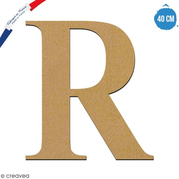 Lettre R en bois à décorer - 40 cm - Collection Alphabet serif - Photo n°1