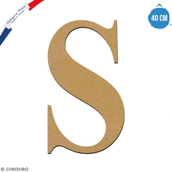 Lettre S en bois à décorer - 40 cm - Collection Alphabet serif - Photo n°1