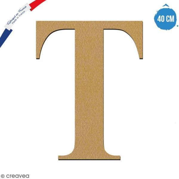 Lettre T en bois à décorer - 40 cm - Collection Alphabet serif - Photo n°1