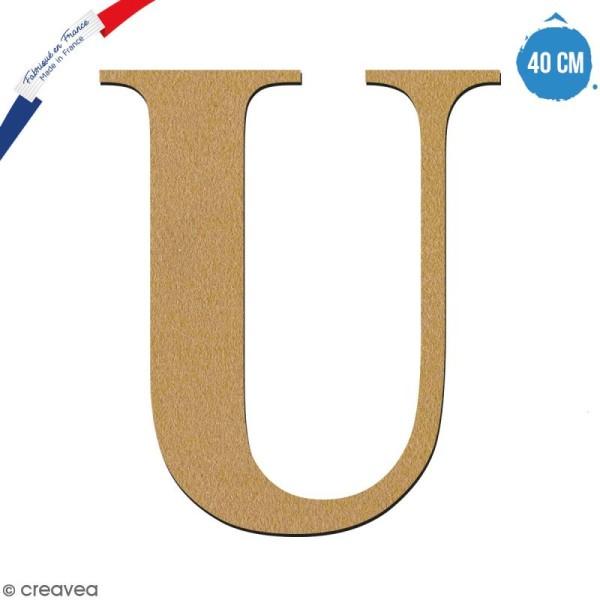 Lettre U en bois à décorer - 40 cm - Collection Alphabet serif - Photo n°1