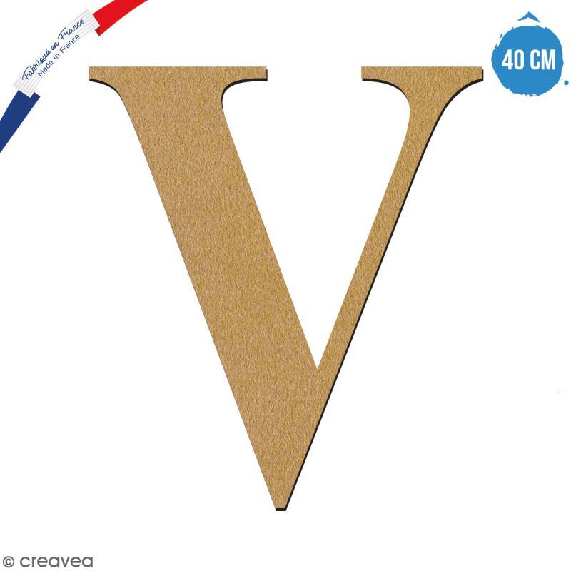 Lettre V en bois à décorer - 40 cm - Collection Alphabet serif - Photo n°1