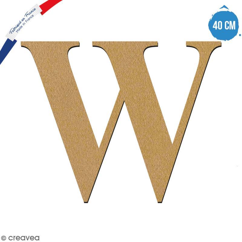 Lettre W en bois à décorer - 40 cm - Collection Alphabet serif - Photo n°1