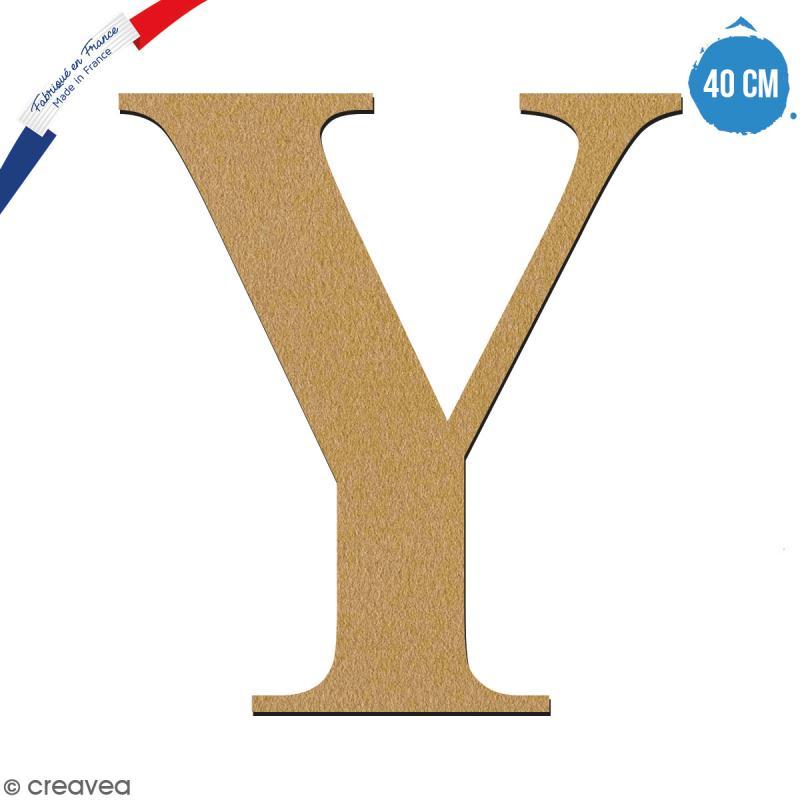 Lettre Y en bois à décorer - 40 cm - Collection Alphabet serif - Photo n°1