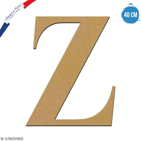 Lettre Z en bois à décorer - 40 cm - Collection Alphabet serif - Photo n°1