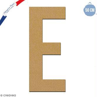 Lettre géante en bois 50 cm - E