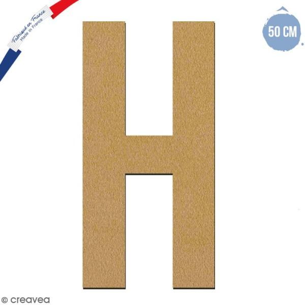 Lettre géante en bois 50 cm - H - Photo n°1