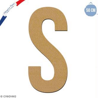 Lettre géante en bois 50 cm - S