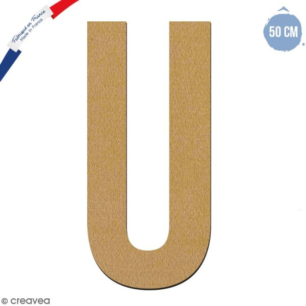 Lettre géante en bois 50 cm - U - Photo n°1