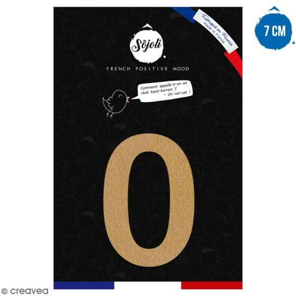 Chiffre 0 en bois à décorer - 7 cm - Collection Alphabet arrondi - Photo n°1