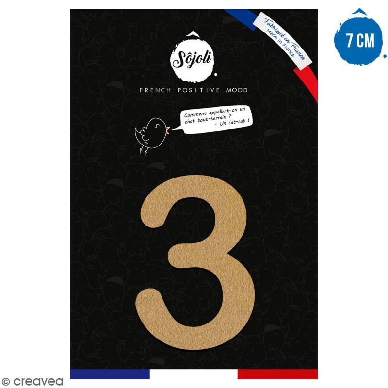 Chiffre 3 en bois à décorer - 7 cm - Collection Alphabet arrondi - Photo n°1