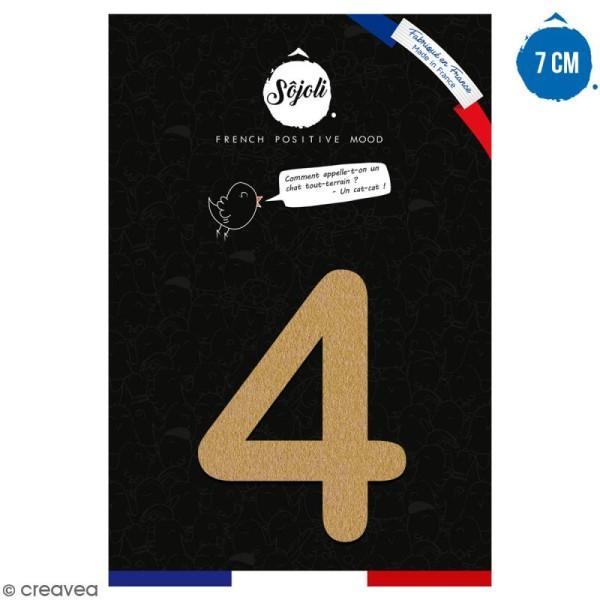 Chiffre 4 en bois à décorer - 7 cm - Collection Alphabet arrondi - Photo n°1