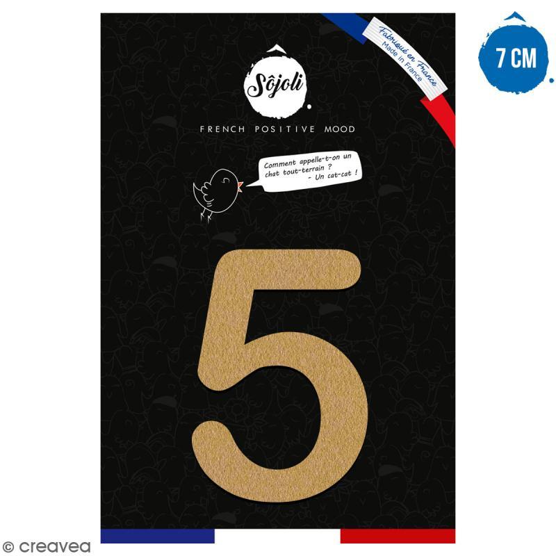 Chiffre 5 en bois à décorer - 7 cm - Collection Alphabet arrondi - Photo n°1