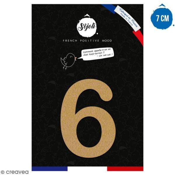 Chiffre 6 en bois à décorer - 7 cm - Collection Alphabet arrondi - Photo n°1