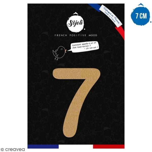 Chiffre 7 en bois à décorer - 7 cm - Collection Alphabet arrondi - Photo n°1