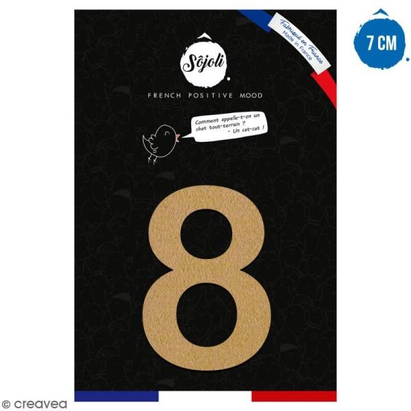 Chiffre 8 en bois à décorer - 7 cm - Collection Alphabet arrondi - Photo n°1