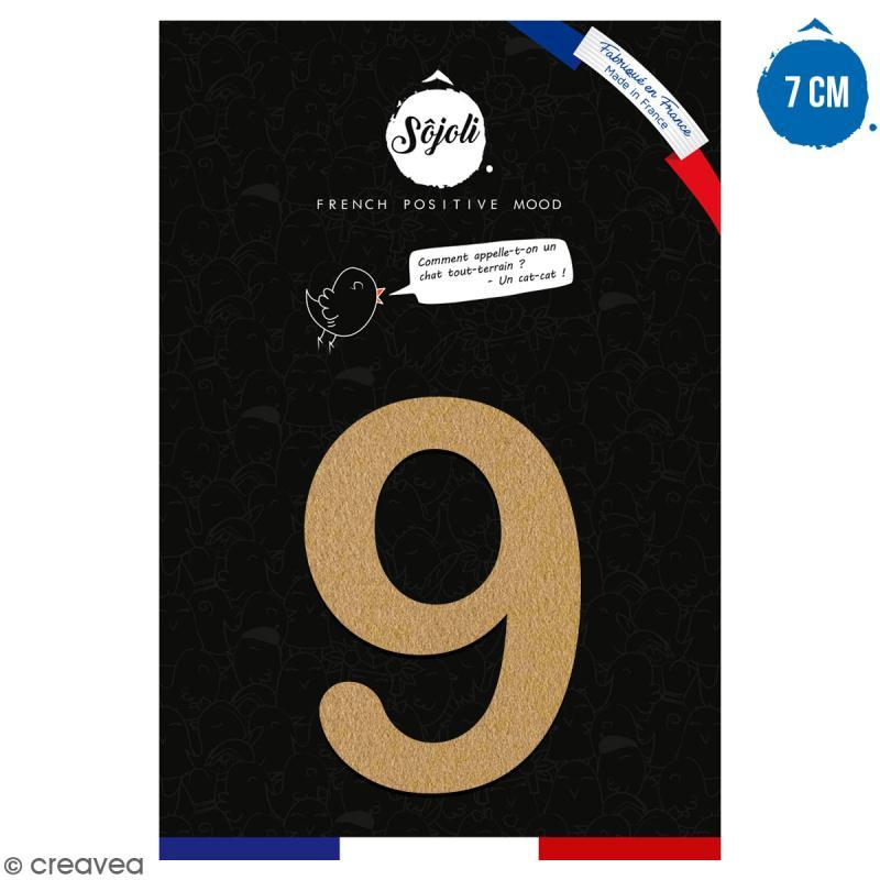 Chiffre 9 en bois à décorer - 7 cm - Collection Alphabet arrondi - Photo n°1