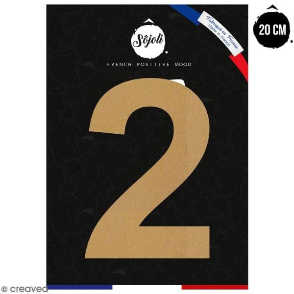 Chiffre 2 en bois à décorer - 20 cm - Collection Alphabet sans serif - Photo n°1