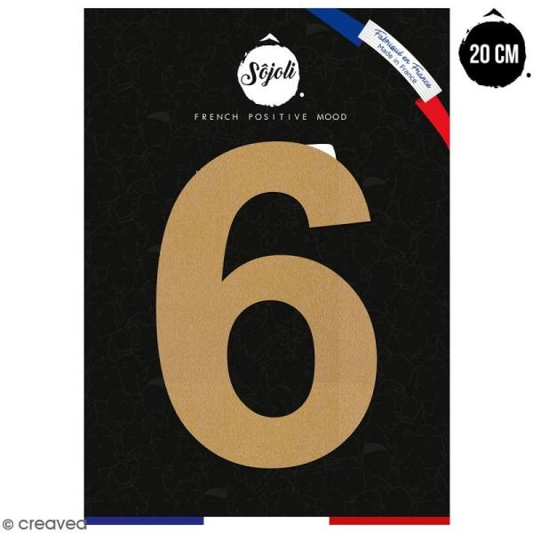 Chiffre 6 en bois à décorer - 20 cm - Collection Alphabet sans serif - Photo n°1