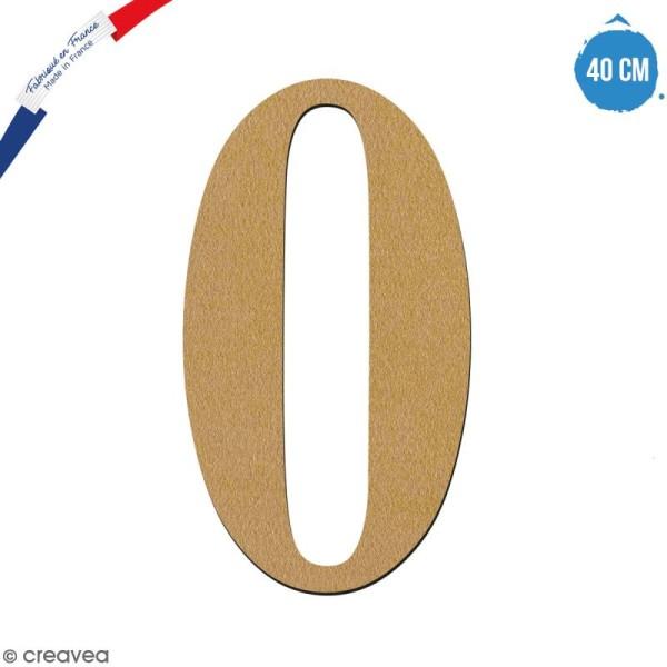 Chiffre 0 en bois à décorer - 40 cm - Collection Alphabet serif - Photo n°1