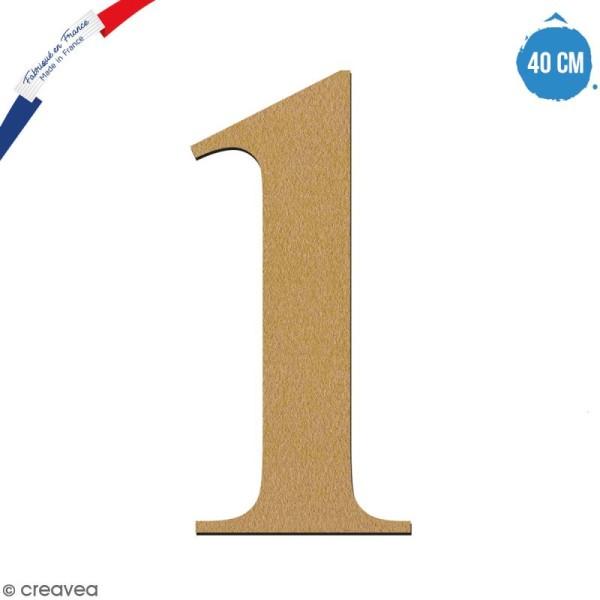 Chiffre 1 en bois à décorer - 40 cm - Collection Alphabet serif - Photo n°1