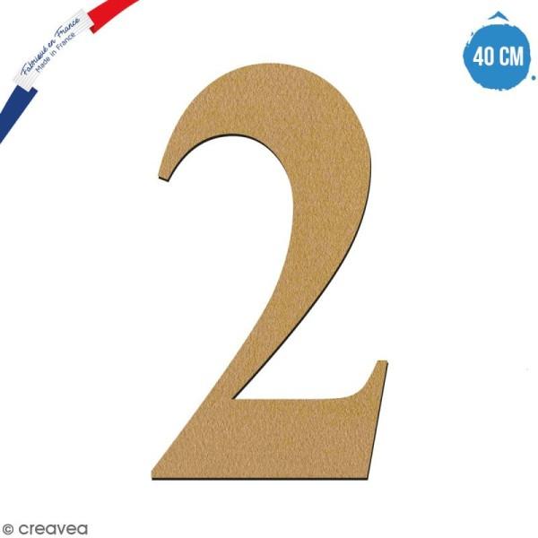 Chiffre 2 en bois à décorer - 40 cm - Collection Alphabet serif - Photo n°1