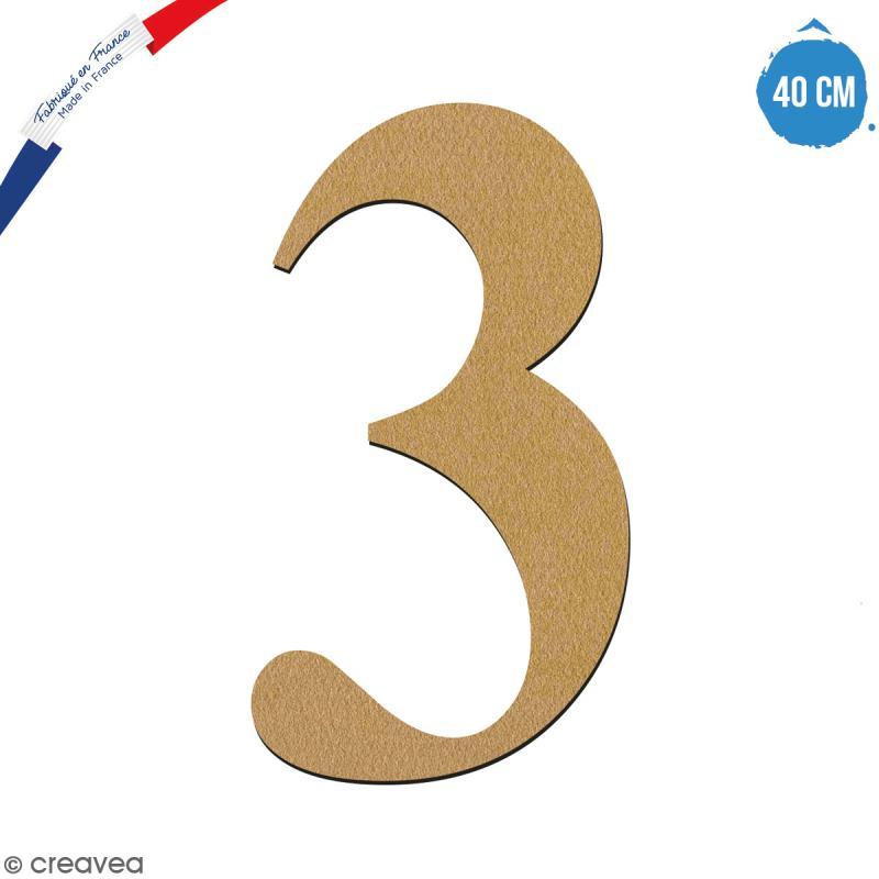 Chiffre 3 en bois à décorer - 40 cm - Collection Alphabet serif - Photo n°1