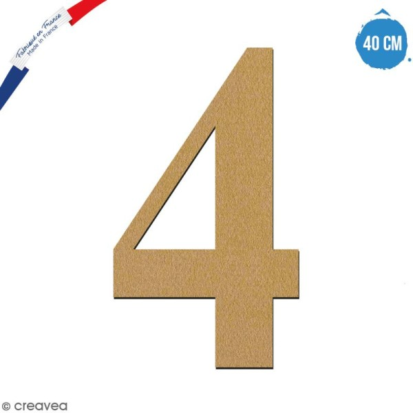 Chiffre 4 en bois à décorer - 40 cm - Collection Alphabet serif - Photo n°1