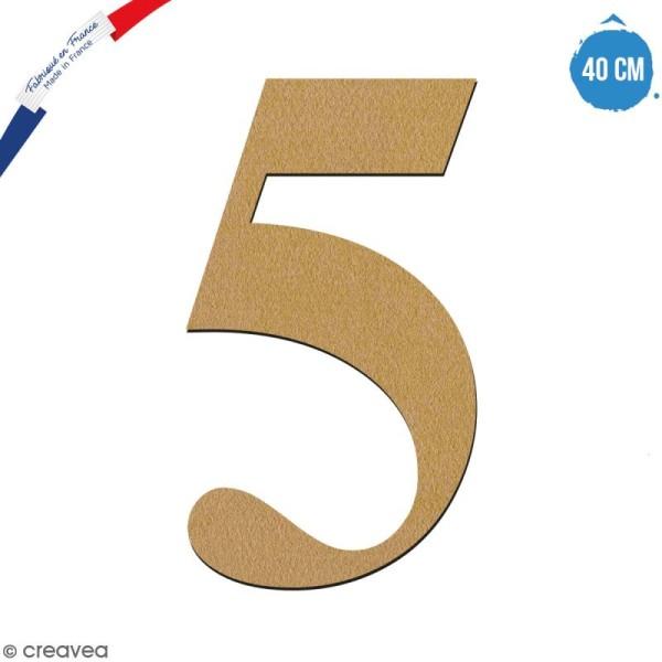 Chiffre 5 en bois à décorer - 40 cm - Collection Alphabet serif - Photo n°1