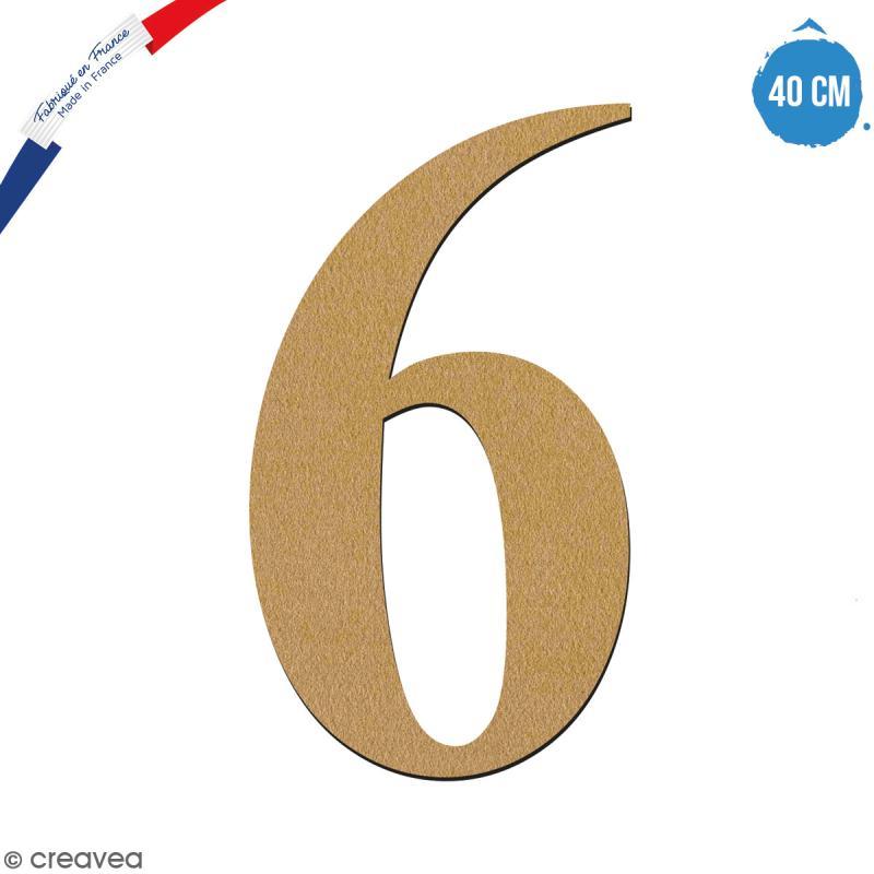 Chiffre 6 en bois à décorer - 40 cm - Collection Alphabet serif - Photo n°1