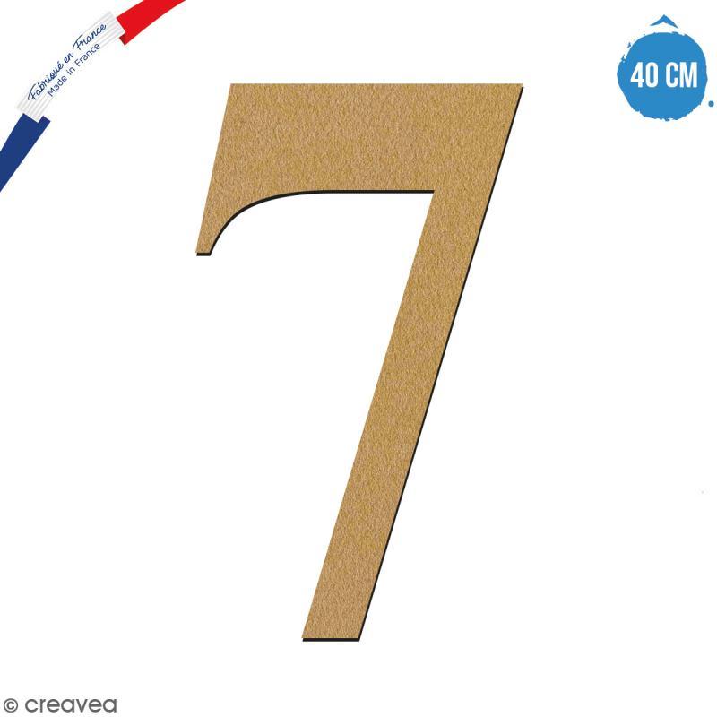 Chiffre 7 en bois à décorer - 40 cm - Collection Alphabet serif - Photo n°1