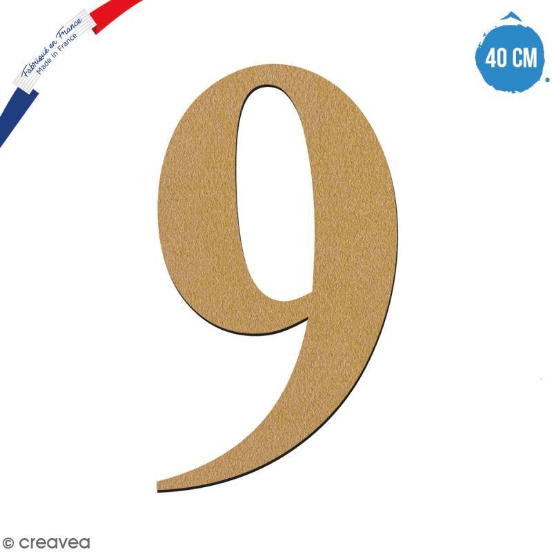 Chiffre 9 en bois à décorer - 40 cm - Collection Alphabet serif - Photo n°1