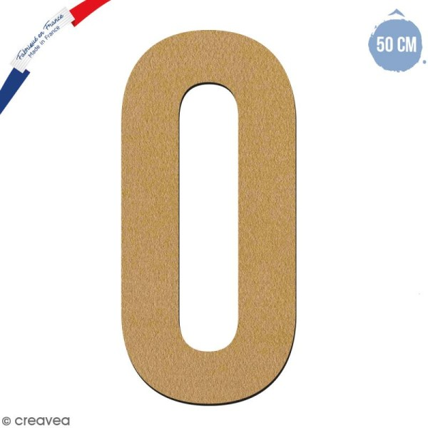 Chiffre en bois 50 cm - 0 - Photo n°1