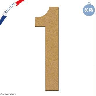Chiffre en bois 50 cm - 1