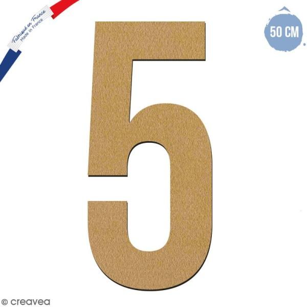 Chiffre en bois 50 cm - 5 - Photo n°1