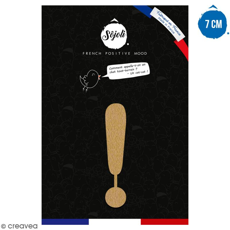 Symbole Point d'exclamation en bois à décorer - 7 cm - Collection Alphabet arrondi - Photo n°1
