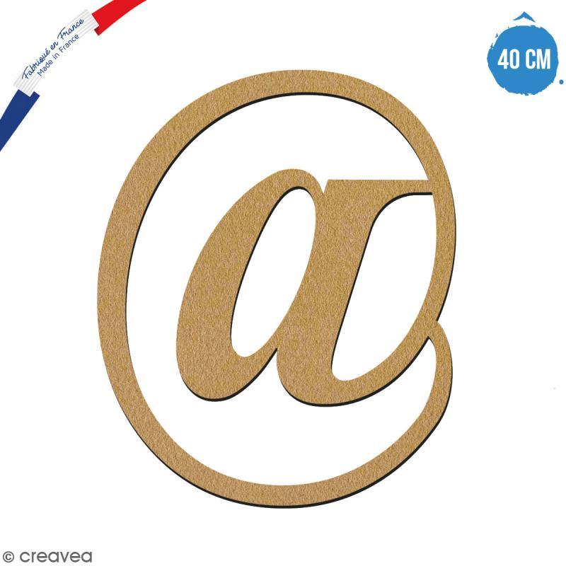 Symbole Arobase en bois à décorer - 40 cm - Collection Alphabet serif - Photo n°1