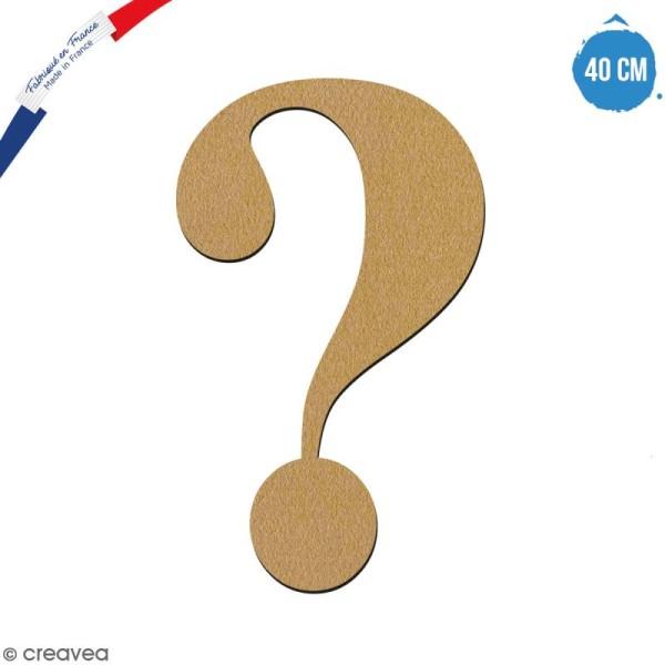 Symbole Point d'interrogation en bois à décorer - 40 cm - Collection Alphabet serif - Photo n°1