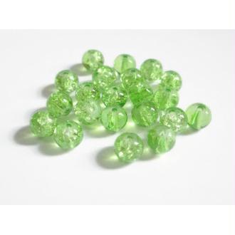 100 Perles En Verre Vert Craquelé 6mm