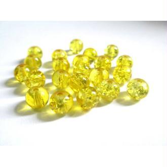 100 Perles En Verre Jaune Craquelé 6mm
