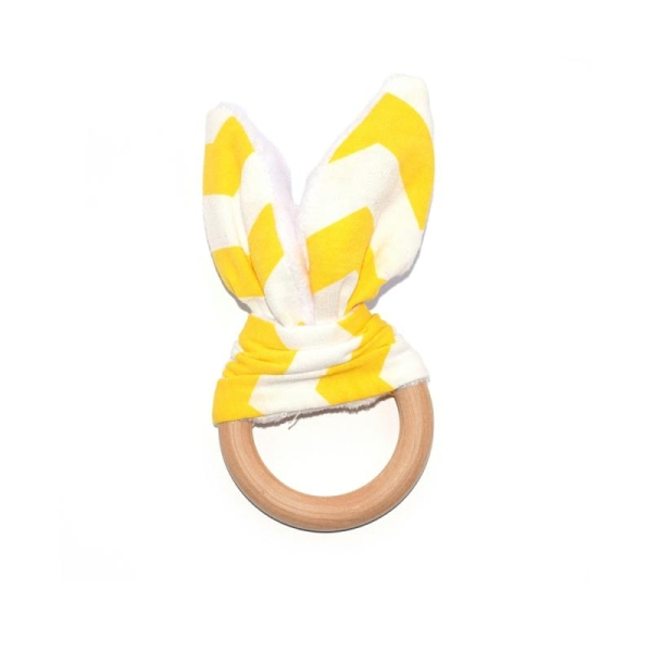 Anneau de dentition en bois et tissu bruissant ours orange et beige