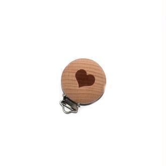 Attache tétine bois dessin coeur