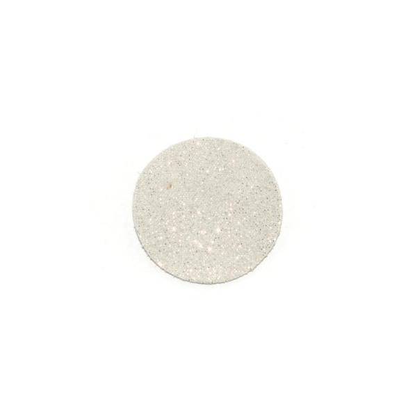 Rond de cuir irisé brillant 30 mm blanc - Photo n°1
