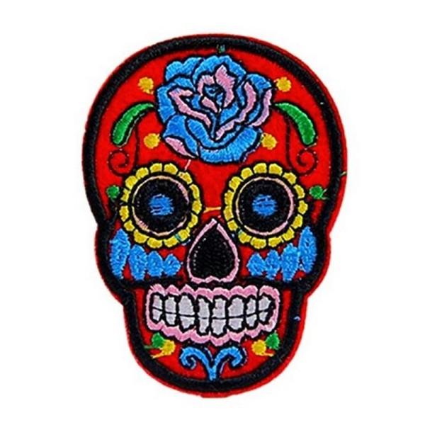 Ecusson patch tête de mort Mexicaine paillette blanc custom thermocollant